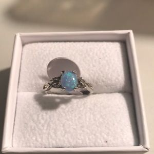 NWOT Silver Plated simulated opal and CZ ring